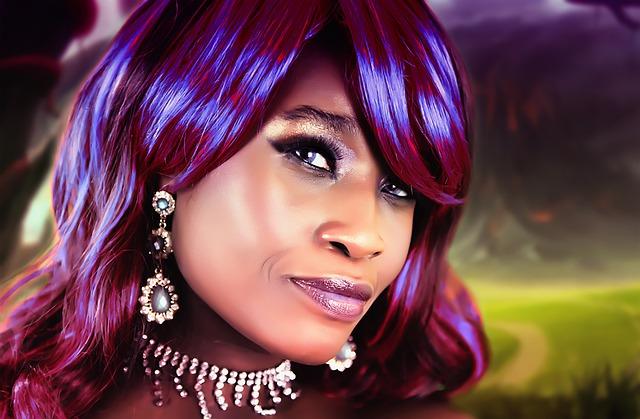 fialové vlasy